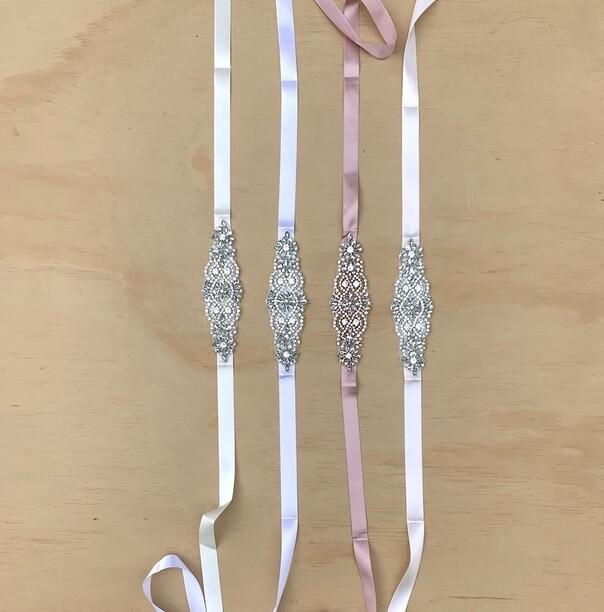 Girls Diamante Sash Belt - White