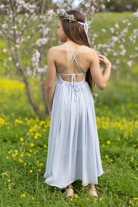 Sofia French Chiffon Dress | Dusty Blue