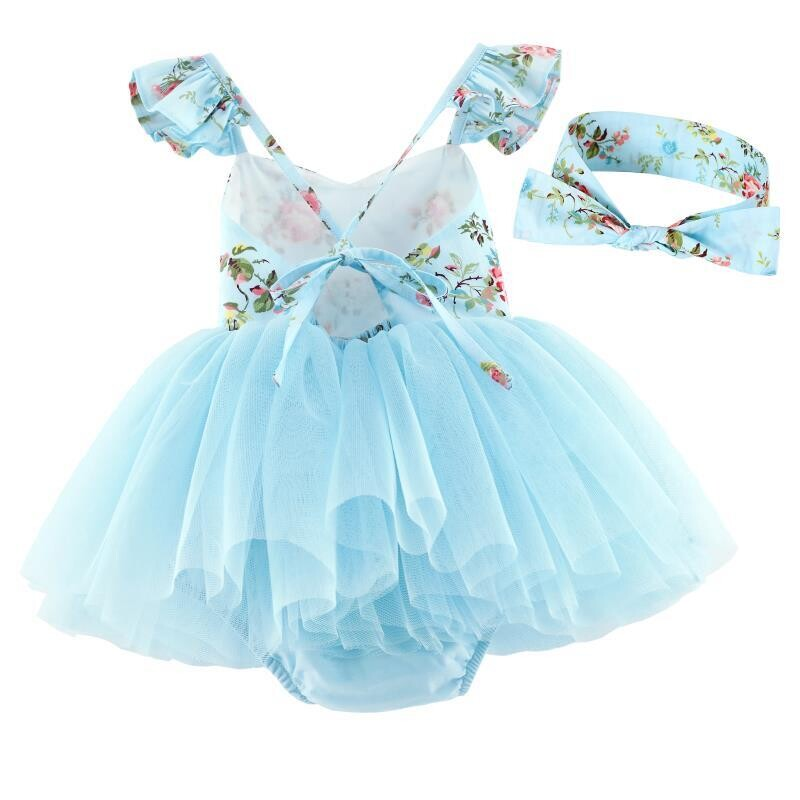 Eloise Blue Floral Baby Tutu Romper Dress