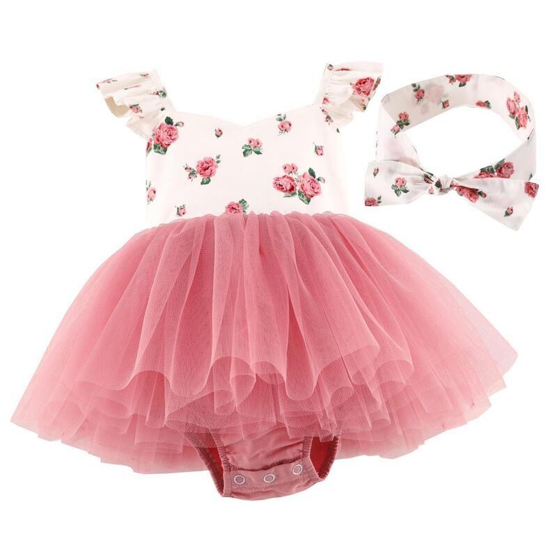 Eloise Dusty Pink Floral Baby Tutu Romper Dress