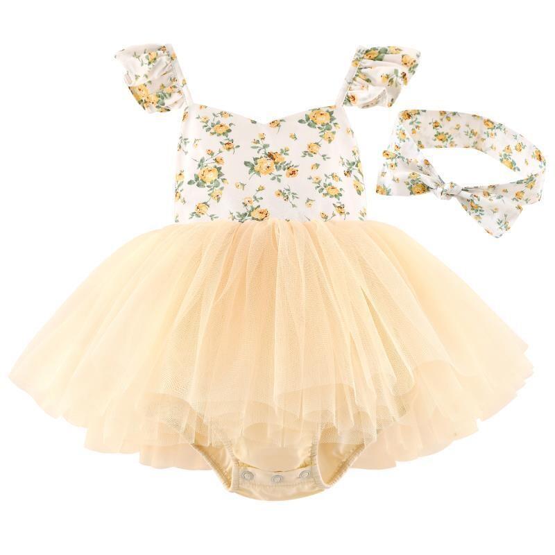 Eloise Yellow Floral Baby Tutu Romper Dress