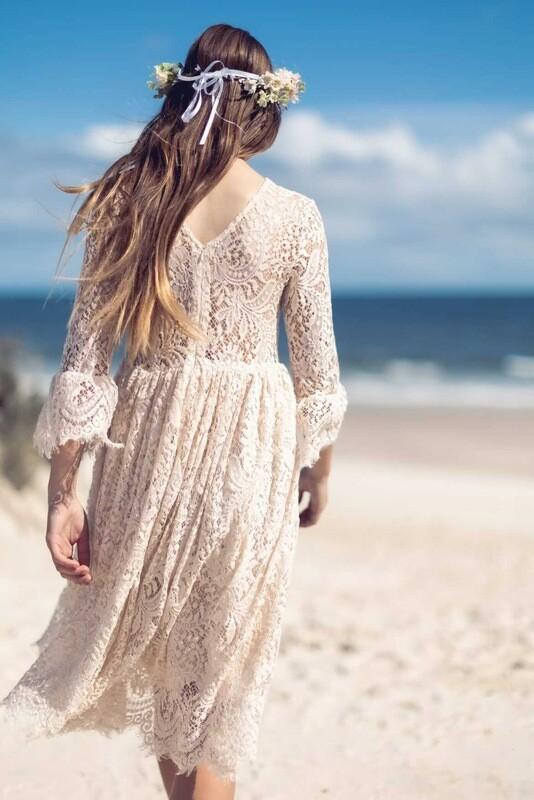 Cleo Beige Lace Boho Girls Dress