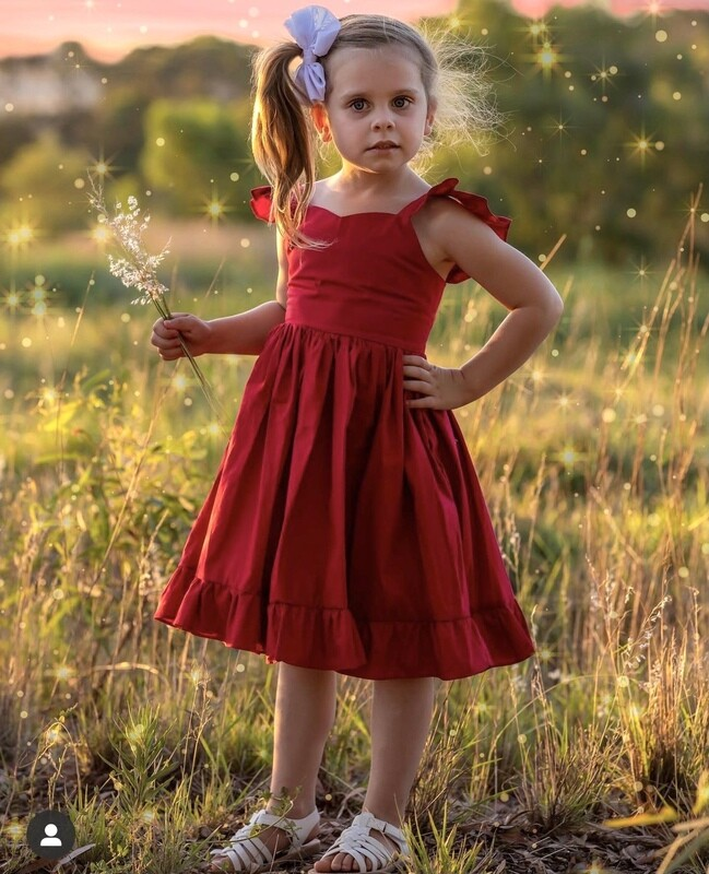Faith Girls Christmas Dress - Ruby Red with Head Wrap