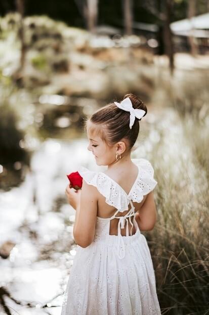 Mya Girls White Broderie Christmas Dress
