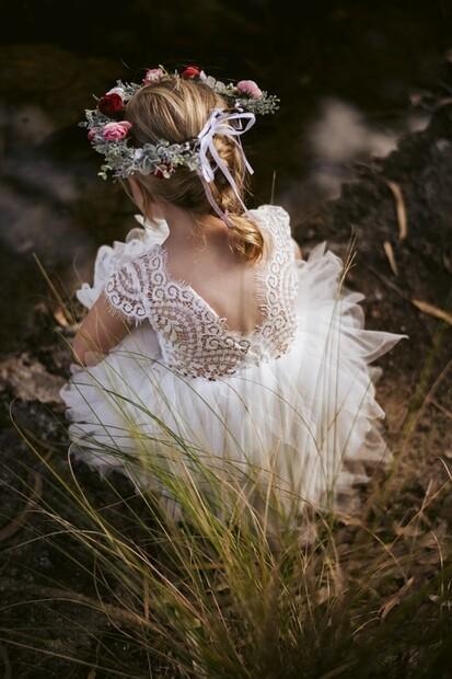 Felicity Capped Sleeve White Girls Dress