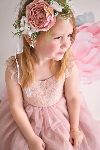 Marla Girls Boho Dusty Pink Flower Crown