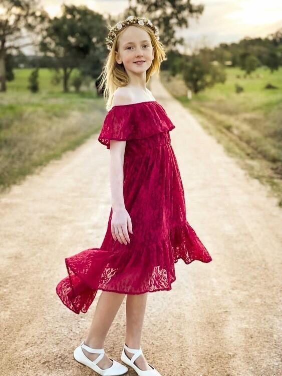 AUBRIE Boho Flower Girls Dress - Wine