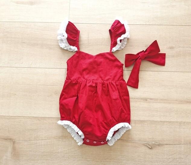 Rosie Girls Red Christmas Romper PREORDER