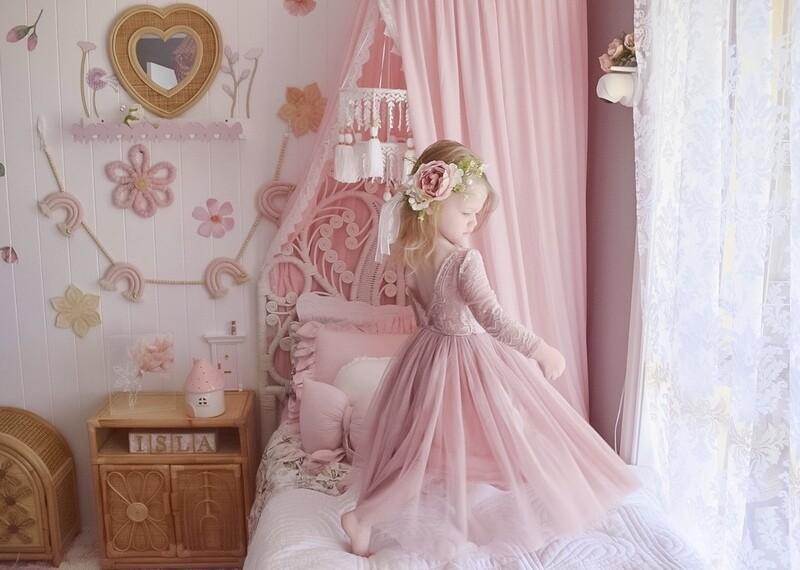 Juliette Dusty Pink Long Sleeve Girls Dress