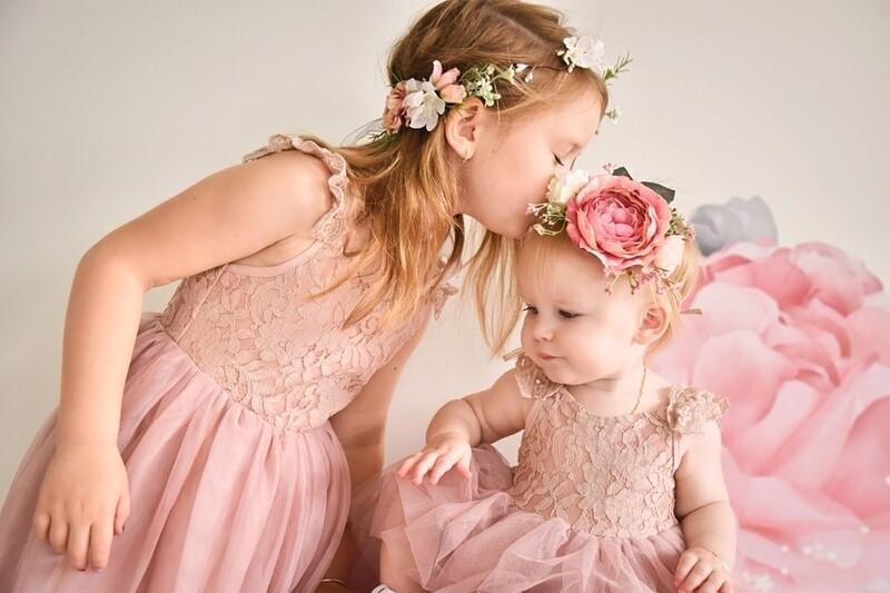 Enchanted Angel Girls Dusty Pink Lace Dress