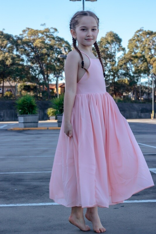 Sofia French Chiffon Peach Girls Dress