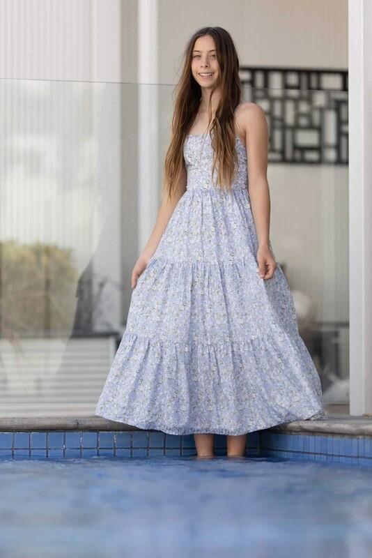 Isabelle Girls Blue Maxi Dress