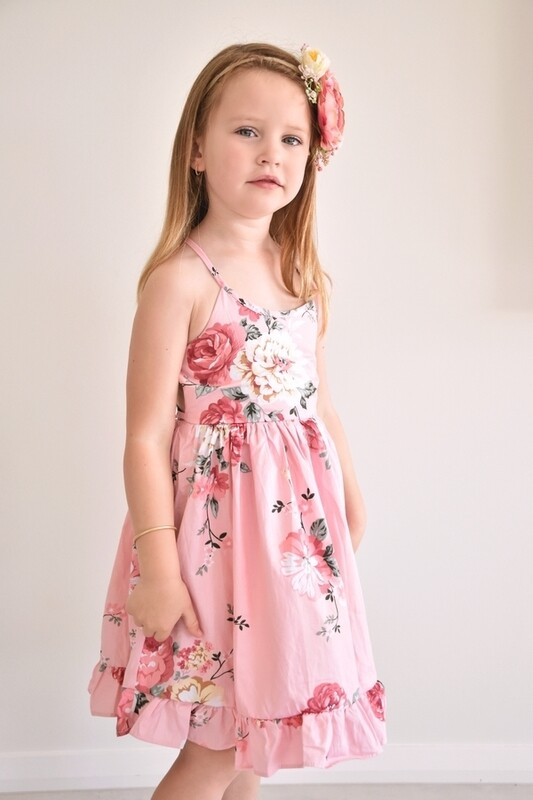 Elsie Girls Dress - Coral Blossom