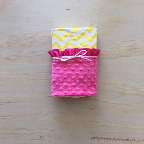 Yellow Chevron | Hot Pink | Minky Baby Blanket