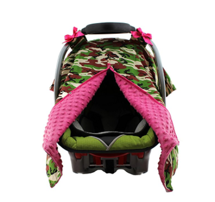 Camo Hot Pink  Minky Car Seat Canopy | Snap Opening | Universal