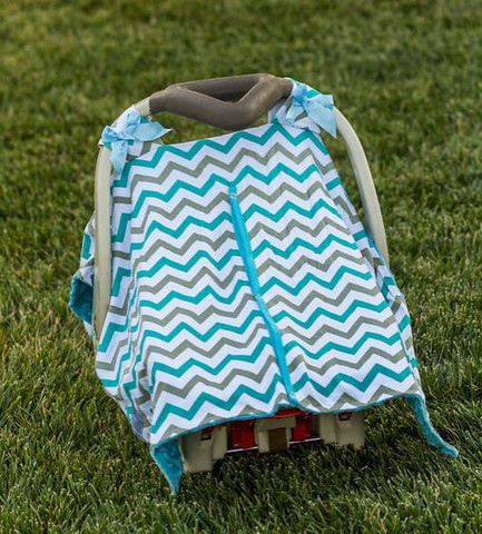 Blue Grey Chevron Minky Car Seat Canopy | Snap Opening | Universal