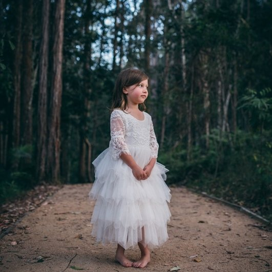 Aurora Grace Dress | With Sleeves | Ivory