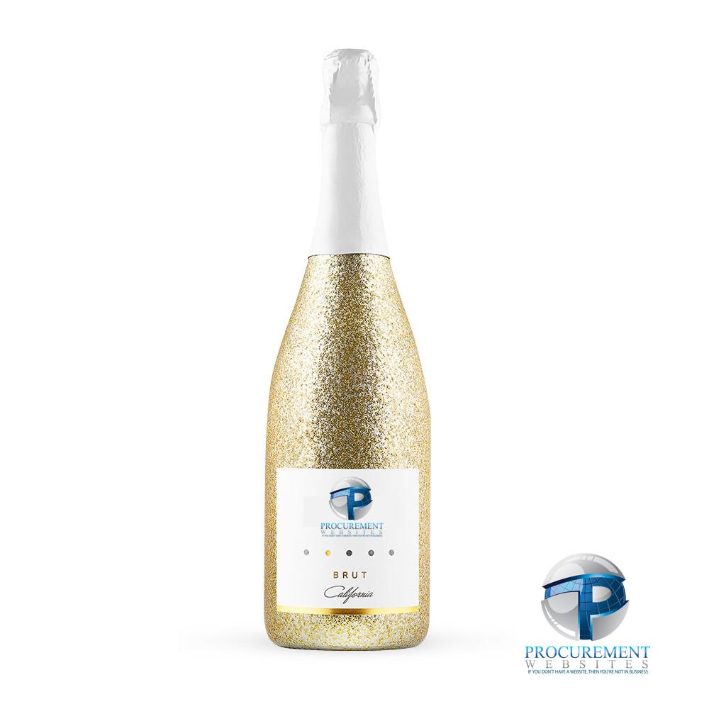 California Celebration Brut Sparkling Wine Gold Glitter with Custom Engraved Box