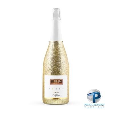 Break a Leg Talent California Celebration Brut Sparkling Wine Gold Glitter with Custom Engraved Box