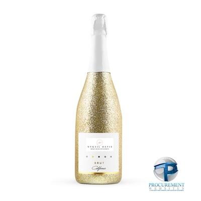 Nykeil Davis California Celebration Brut Sparkling Wine Gold Glitter with Custom Engraved Box