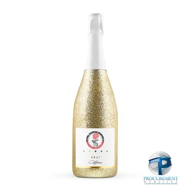 National Epicureans Incorporated California Celebration Brut Sparkling Wine Gold Glitter with Custom Engraved Box