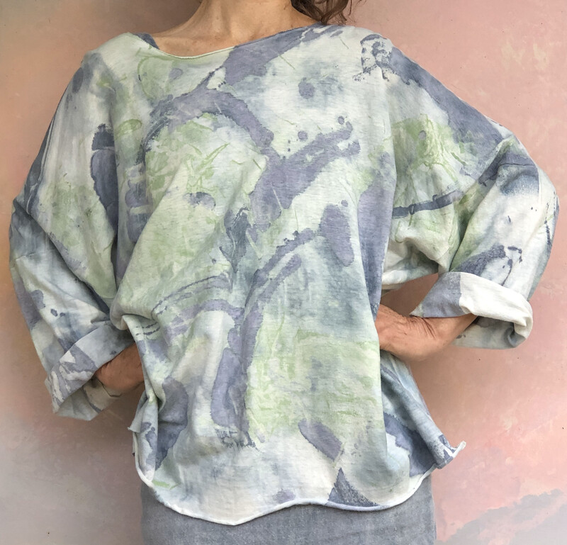 Soft Indigo Green Art Top