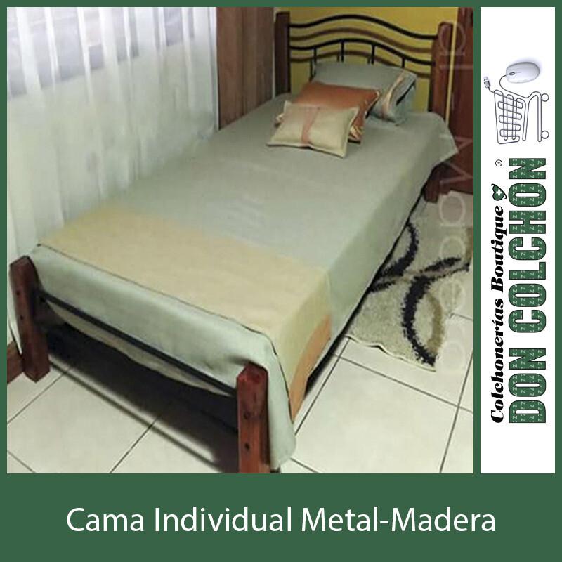 CAMA METAL MADERA INDIVIDUAL