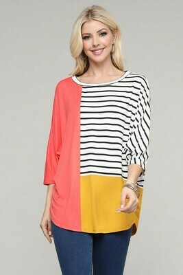 3/4 Sleeve Colorblock Top  Only a 3X Left!!