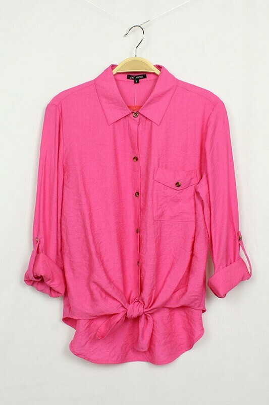 Button Up Tie Waist Top - Only 1 Small Left!!