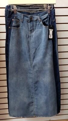 Side Strip Long Denim Skirt 3X to XS!!