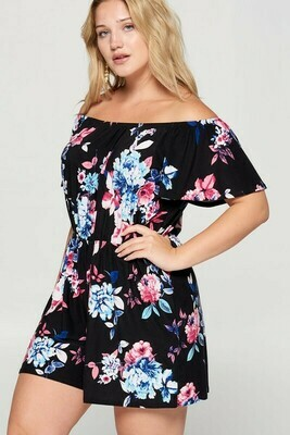 Floral Off Shoulder Romper Only 3XL Left!!