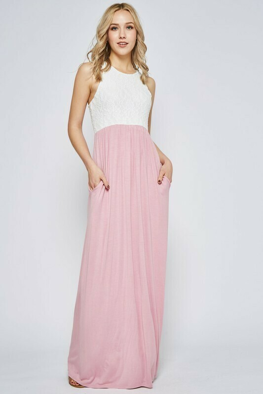 Lace Contrast Sleeveless Maxi Dress Mauve