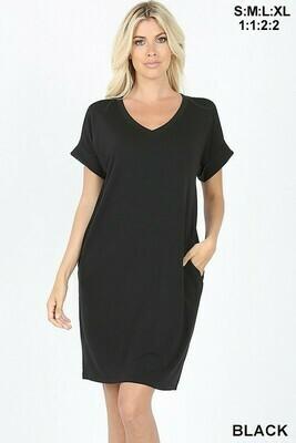 V Neck Rolled Short Sleeve Dress M & L Only Left!!!