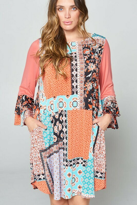 Patchwork Bell Sleeve Dress  3XL to 1XL!