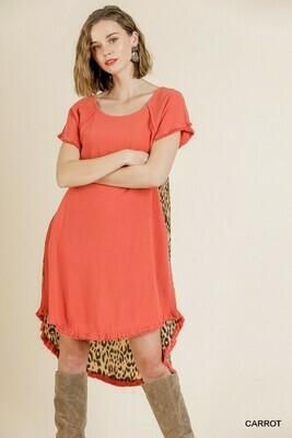 Short Sleeve Animal Print Back Dress  1XL & XL Only left!!