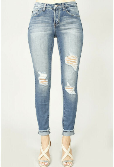 Cuffed Long Distressed Jean 2X only left!!