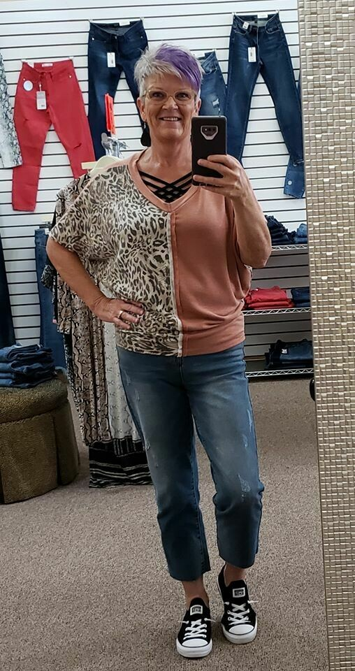 Leopard Print V Neck Top 3X to S!!!