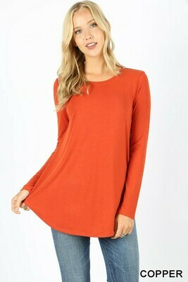 Long Sleeve Round Neck Hem Top  3X to S!!
