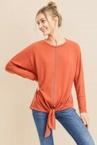 Tie Front Contrast Stitch Top  XL to S!!