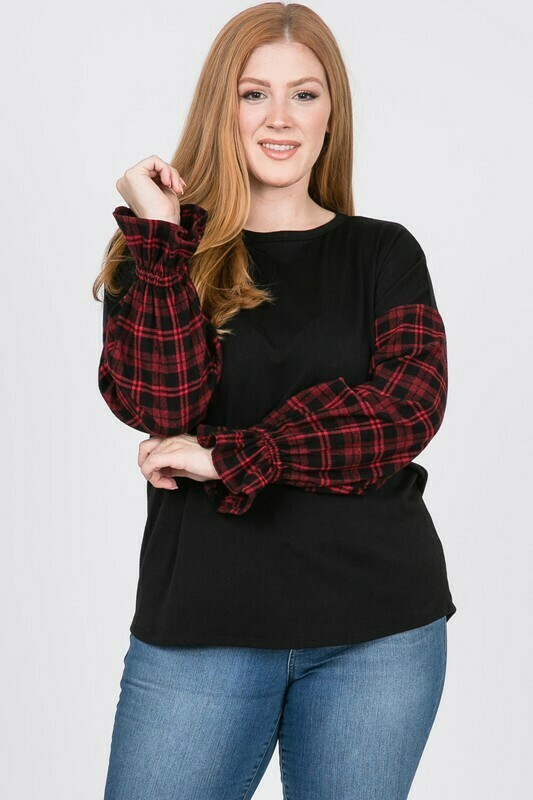 Long Sleeve Top with Buffalo Plaid Arms  - Too cute!!
