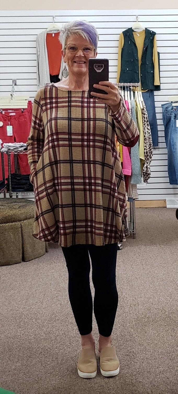 Plaid Elbow Patch Dress 2X to S!