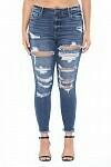 HR Distressed Frayed Hem Skinny Jeans  Size 14 to 22!!