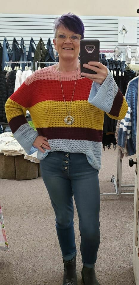 Colorblock Pullover Lightweight Sweater  Only 1 XL Left!!