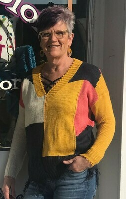 V Neck Frayed Hem Sweater  UMGEE  2XL & XL only left!!!
