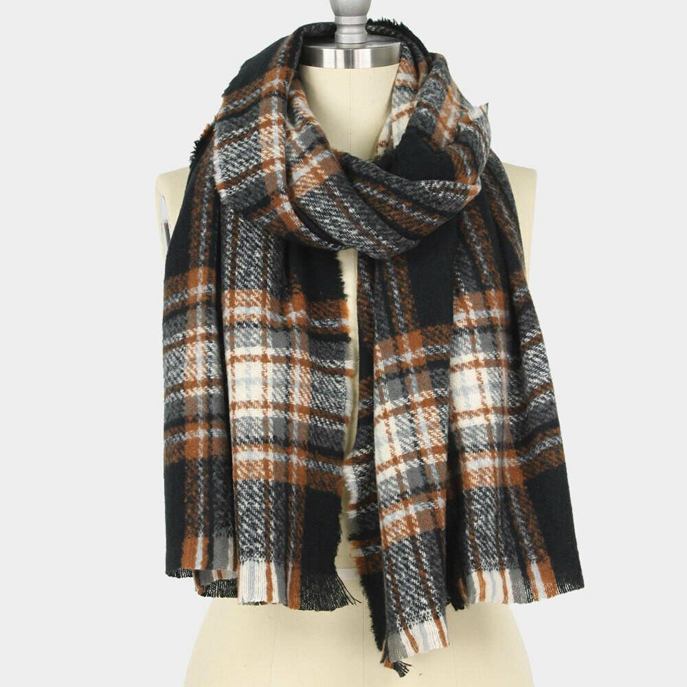 Oblong Winter Scarf Black  Brown Left!