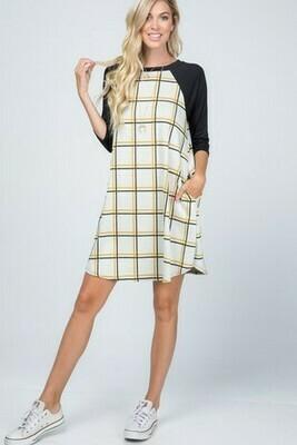 Checker Contrast Dress!!  3X to 1X !!