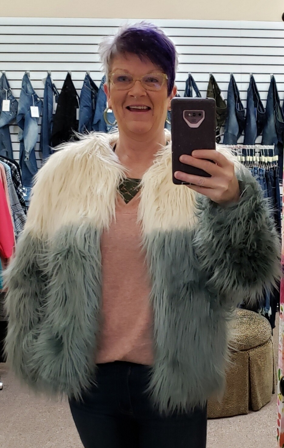 Ombre Fur Jacket!!  So Fun & on S/M sizes left!!