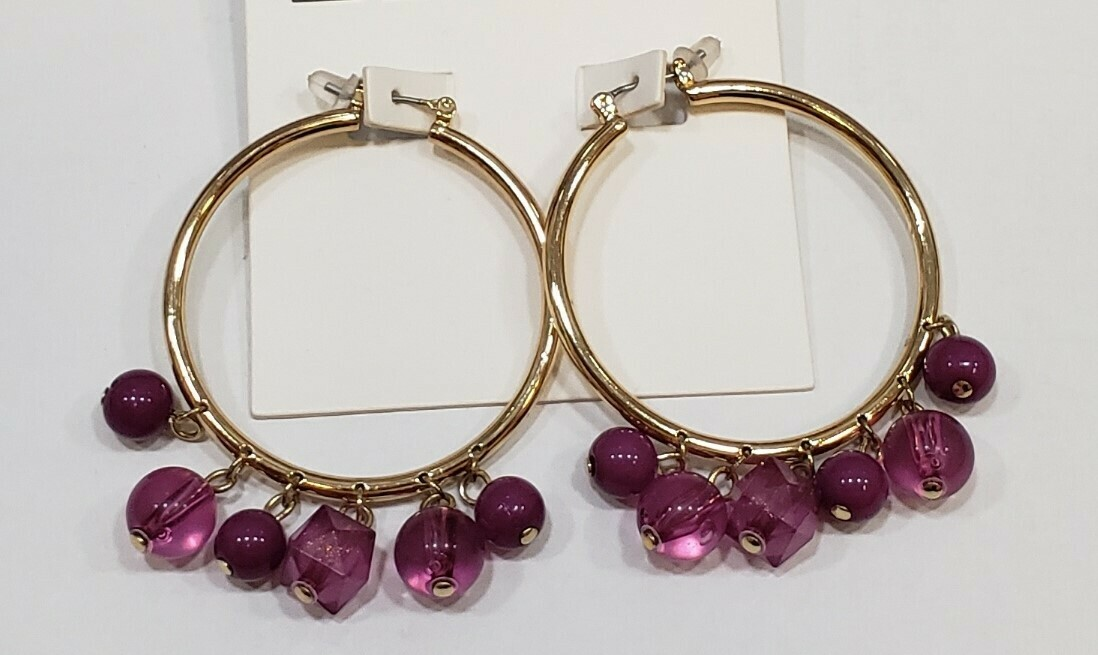 Beaded Lucite and Resin Hoop Earring
