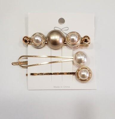 Pearl & Metal Barrette Set - Pearl & Gold