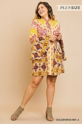 Trumpet Sleeve Multi Color Dress from UMGEE!  Only 1 Left!